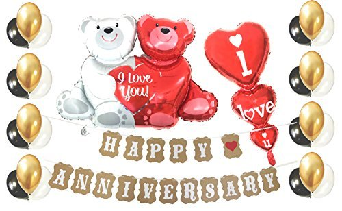 Love Heart Balloon Happy Anniversary Decorations Set with Special Love-Bear & i Love You Heart Balloon and Love Pattern 24 Count Gold,Black and White Balloons (LoveRed)