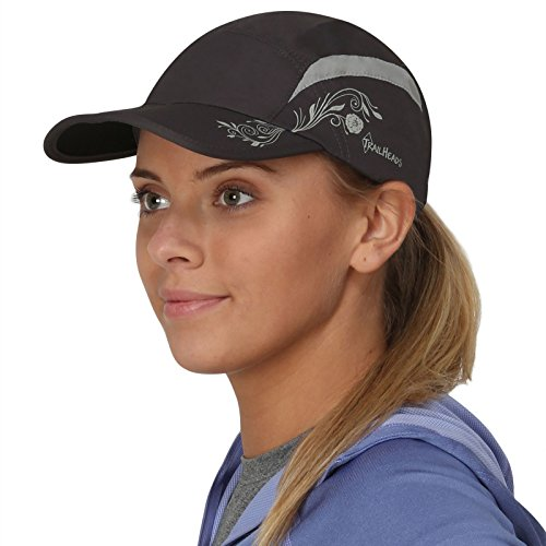 TrailHeads Folding Bill Running Hat For Women | Summer Cap with UV Protection - charcoal/grey print - Folding Clasp Tag