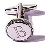 HJ Men's 2PCS Fashion Tuxedo Shirts Cufflinks Citicall Initial Letter Platinum Plated 2 Color A-Z (Silver B)
