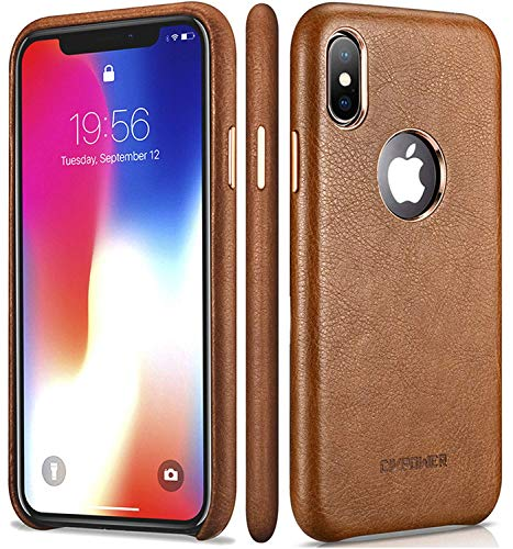 iPhone X Leather Case - Premium Leather iPhone X Case - Best Mobile Cell Phone Cases Protective Back Cover - Slim Fit Vegan Artificial Synthetic PU Leather Case for Apple -