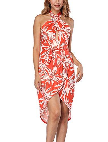 JOYMODE Womens Sexy Cross Halter Backless Printed High Low Beach Summer Dress