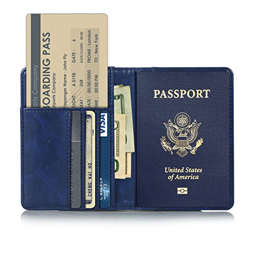 Leather Passport Case (EpicGadget RFID Blocking Premium Leather Passport Holder Travel Wallet Cover Case (Navy Blue))