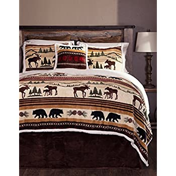 outlet D&H 4 Piece Wildlife Theme Brown Queen Comforter Set, Bear Moose Fish Designs, Outdoor Rustic Stylish Country Cabin Lodge Pattern