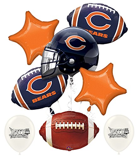NFL Football NFC Teams Party Balloon Bouquet Bundle with Team Option (Chicago Bears) ()