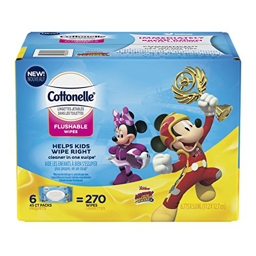 Cottonelle Flushable Toddler Wipes for Kids, 6 Flip-Top Packs, 270 Fragrance-Free Wet Wipes in Disney Packaging, Mickey Mouse by Cottonelle