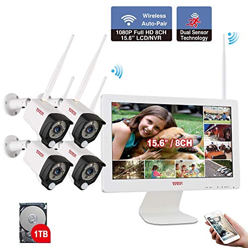 [Audio Recording] Tonton Expandable All-in-One Full HD 1080P Security Camera System Wireless with 15.6