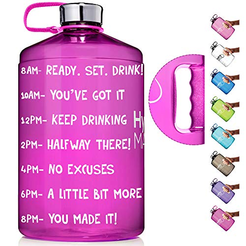 HydroMATE 1 Gallon Motivational Water Bottle with Time Marker Large BPA Free Jug with Handle Reusable Leak Proof Bottle Time Marked to Drink More Water Hydro MATE 128 oz (Neon Pink)