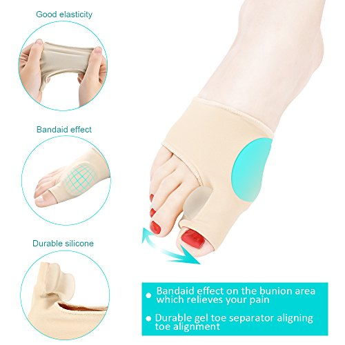 Bunion Corrector Splint Relief Kit - Orthopedic Bunion Pads Toe Separators Spacers Straighteners for Tailors Bunion Hallux Valgus Big Joint Hammer Toe Women and Men (4 Pairs) by INCOK (Image #3)