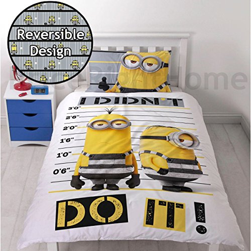 Despicable Me Minion Jailbird 2-Sided Reversible Design Duvet Cover With Matching Pillow Case for Bedrooms/Playrooms, Polyester-Cotton, Grey, Single