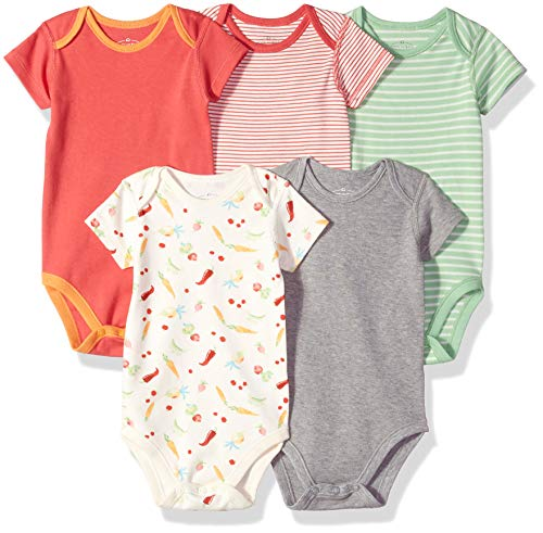 Moon and Back Baby Set of 5 Organic Short-Sleeve Bodysuits, Garden Party, 6-9 Months