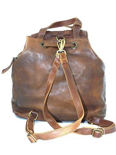JackyCeline - Bolso mochila  de Piel para mujer marrón marrón