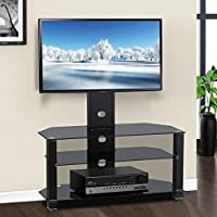 Yaheetech 3 Tier Adjustable Black Glass Cantilever TV Stand Bracket with Cable Management for 60 In Flat Screens TV