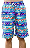 Taloyer Casual Couples Beach Board Surfing Shorts Quick Dry Rhombus Patterns Summer Swimming Short Pants Trunks (Men)