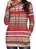Bodycon4U Womens Striped Cowl Neck Drawstring Long Sleeve Pullover Sweatshirt Sweater Pockets Red XL