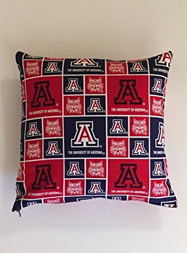 University of Arizona Throw Pillow. FREE SHIPPING on any order. Two sizes offered. See options. Zipper closure for swift removal of cover for washing. Non-Allergenic pillow insert.