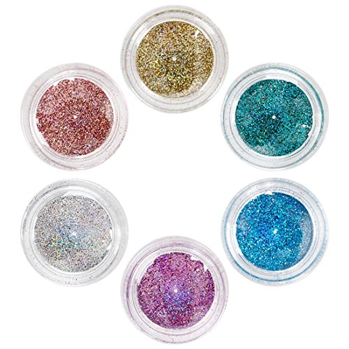 Holographic Glitter Nail (BMC 6pc Super Cute Holographic Fine Glitter Pot Nail Polish Art Accessory Set)