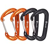 Favofit Carabiner Clips, 4 Pack, 12KN (2697 lbs) Heavy Duty Caribeaners for Camping, Hiking, Outdoor and Gym etc, Small Carabiners for Dog Leash and Harness, Black + Orange