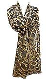 ''Open Web Pattern'' Sequin Sheer Net Scarf Stole Shawl Wrap Black Matte Gold