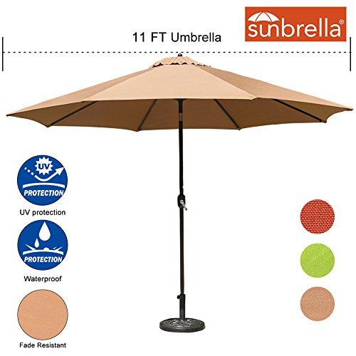 Sundale Outdoor 11 Ft Sunbrella Canopy Patio Market Umbrella Garden Outdoor Aluminum Umbrella with Crank and Push Button Tilt, Camel (Sunbrella Patio Umbrellas)