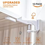Cabinet Locks Child Safety Latches,10 Pack Baby Proofing Cabinets Lock and Drawers Latch,Easy Adhesive Installation,and No Drilling,Tools or MeasuringRequired(White)