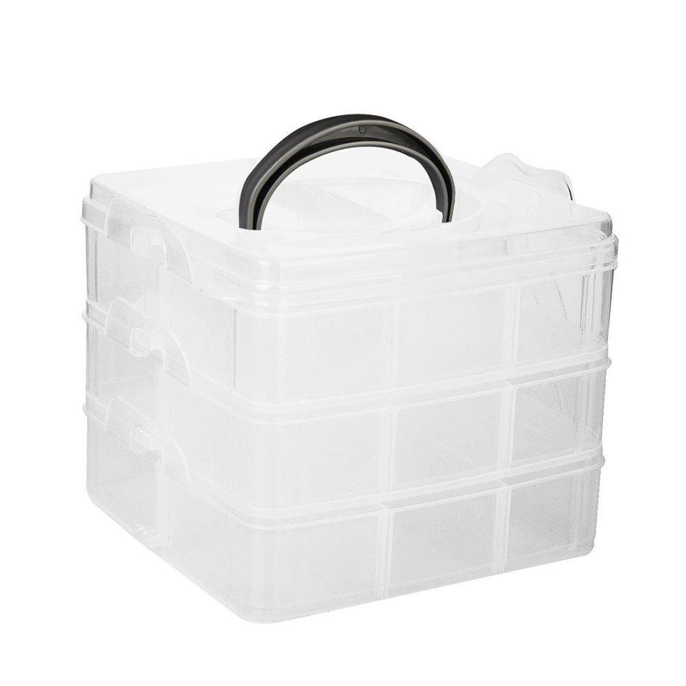 OULII 3 Layers Ornament Storage Box Case Holder Organizer Adjustable