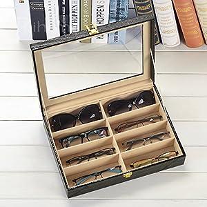 UnionPlus Crocodile Faux Leather Box 8 Slots For Eyeglass Sunglass Glasses Display Case Storage Organizer Collector (Black Croco)