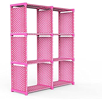 3 Tier Storage Cube Closet Organizer Shelf, DIY 6 Cube Bookcase Cabinet  Without