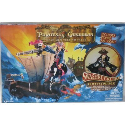 PIRATES OF THE CARIBBEN DEAD MEN TELL NO TALES SWASHBUCKLERS COFFIN CRUISER INCLUDES FIGURE AND BOAT by ()
