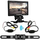 ZSMJ Backup Camera Wireless and 7 Display Monitor Kit 9V-24V Rear View Camera System for Car/Vehicle/Truck/Van/Camper with Waterproof Night Vision Guide Lines