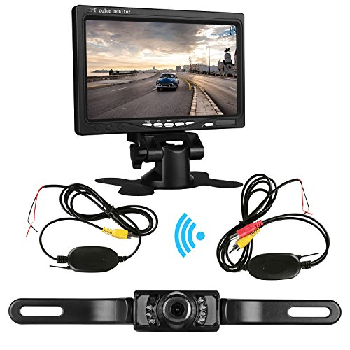ZSMJ Backup Camera Wireless and 7'' Display Monitor Kit 9V-24V Rear View Camera System for Car/Vehicle/Truck/Van/Camper with Waterproof Night Vision Guide Lines
