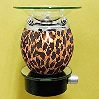 StealStreet SS-A-43012 Round Electric Night Lite Aroma Lamp with Cheetah Pattern Print Design