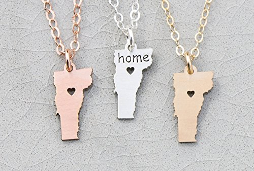 Vermont State Necklace - IBD - Customize with Name or Coordinates – Choose Chain Length – Pendant Size Options - Ships in 1 Business Day - 935 Sterling Silver 14K Rose Gold Filled Charm - 14k Cow Pendant