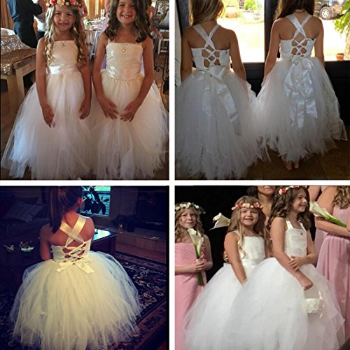 FAYBOX Pageant Wedding Flower Girl Dress Crossed Back Bow Feather Sash Fluffy White 2 by FAYBOX (Image #4)