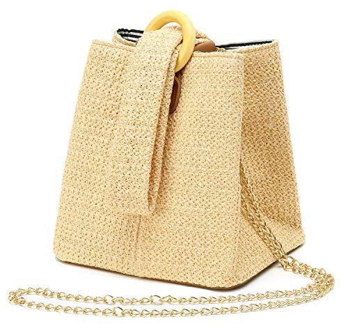 Straw Crochet Clutch Bag Fashion Clutch Bags Bucket Wrist Evening Purse Bag Summer ()