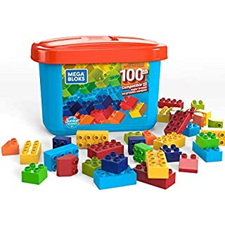 Mega Bloks Open-Ended Play Brick Box for Junior Builders: Building Toys for Creative Play (100 Pieces), Compatible with Major Brands, Multicolor (GJD21)