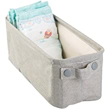 mDesign Baby Nursery Cotton Fabric Storage Bin for Diapers, Wipes, Stuffed Animals, Toys - Small, Light Gray