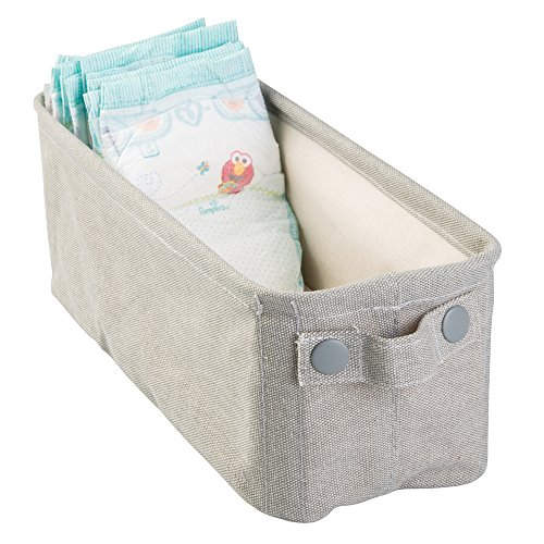 Metro Office Table - mDesign Baby Nursery Cotton Fabric Storage Bin for Diapers, Wipes, Stuffed Animals, Toys - Small, Light Gray