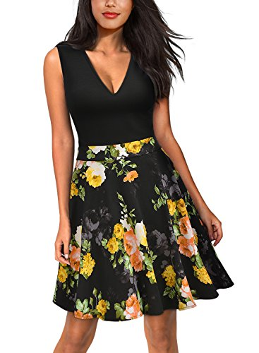 l Flare Floral Contrast Sleeveless Party Mini Dress (Medium, Black_Yellow) (Sleeveless Flare Dress)