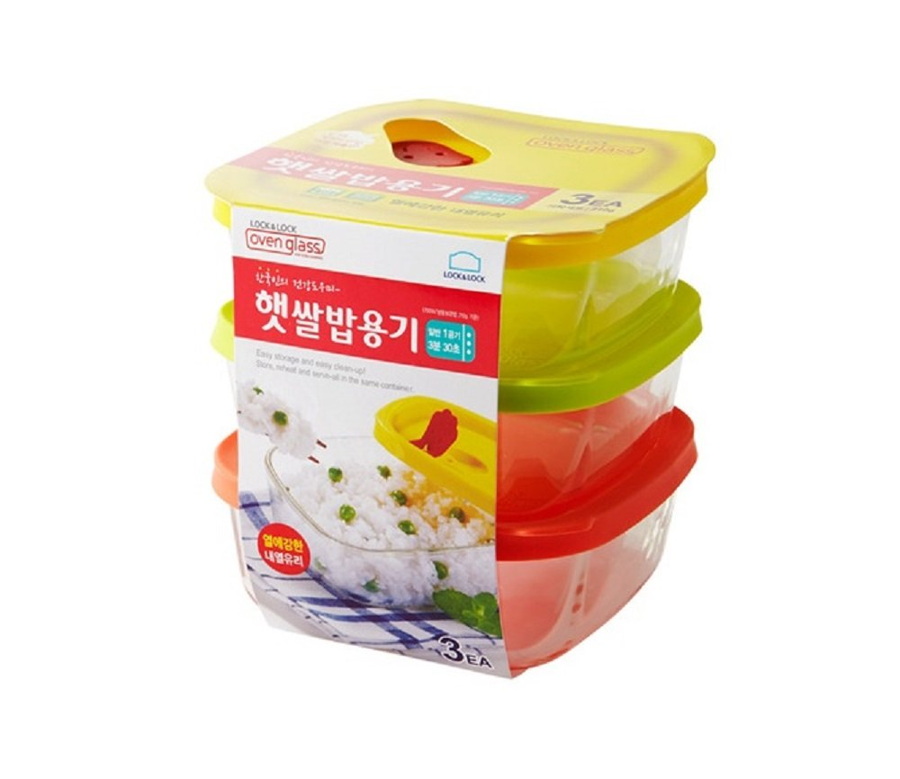 Lock&Lock Oven GLass Cooked Rice Storage Container for Freezer Set of 3