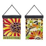 Solar Luminous Glass Design Post, Chickadee & Sunflower, Faux Mosaic, 2 Assorted