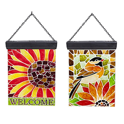 Solar Luminous Glass Design Post, Chickadee & Sunflower, Faux Mosaic, 2 Assorted by Gifted Living
