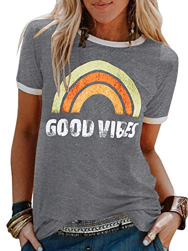 Umeko Womens Good Vibes Graphic Tees Letter Printed Casual Loose Summer T-Shirt (Medium, 2-Light Grey)
