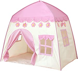 Kids Playhouse Tent - Soft Oxford Fabric Big Play House with 3 Mess Windows, Comes with Storage Carrying Bag, Indoor Outdoor Toy Gift for Children Boys & Girls (Pink)