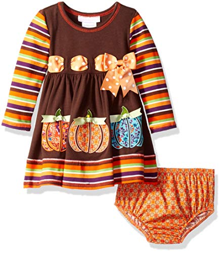 Bonnie Baby Baby Girls Appliqued Dress and Panty, Brown Pumpkin Stripe, 12M ()