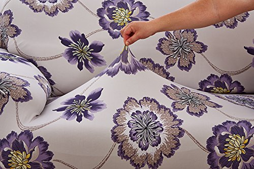 Elvoes Floral Printed Sofa Cover Anti-Slip Elastic Slipcover Stretch Polyester Fabric Soft Furniture Protector Couch Cover (Two seater(57\'\'-72\'\'), Puple Flower)