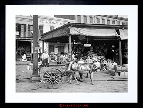 New Orleans Framed Photograph (VINTAGE PHOTO NEW ORLEANS FRENCH MARKET FRAMED PRINT F12X4261)