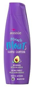 Aussie For Dry Hair Paraben Free Miracle Moist Shampoo W/Avocado & Jojoba, 12.1 Fluid Ounce