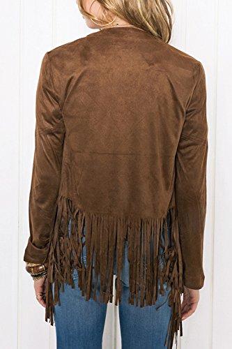 Brown Cardigan Solido Fronte Lunghe Di Le Maniche Transitorio Giacche Aperto Frange ZxIpqqv