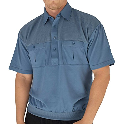 Classic by Palmand 2 Pocket Solid Banded Bottom Polo Shirt (Large, Marine) ()