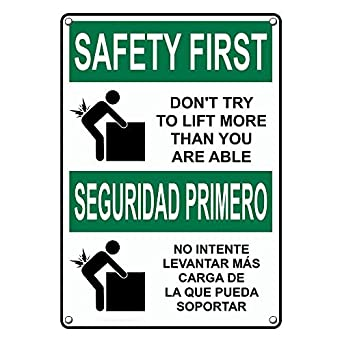 Weatherproof Plastic Vertical OSHA Safety First Buckle Up for Safety Bilingual Sign with English /& Spanish Text and Symbol